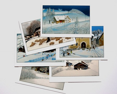 Set of 6 diverse cards image hibernal (17x12cm)