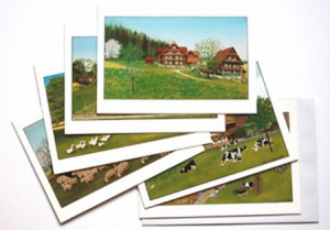 SET of 6 diverse cards, image estival (21x15cm)