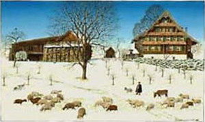 "Carte avec enveloppe ""Berghof, Zugerberg"" 17x12 cm"
